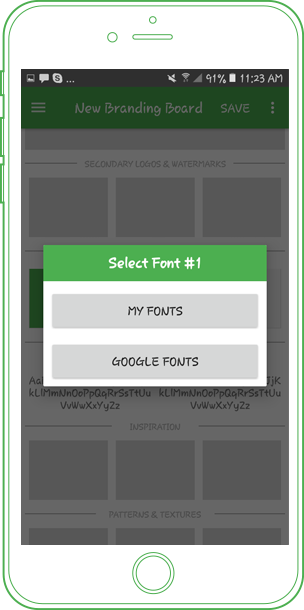 branding board select google font or local font
